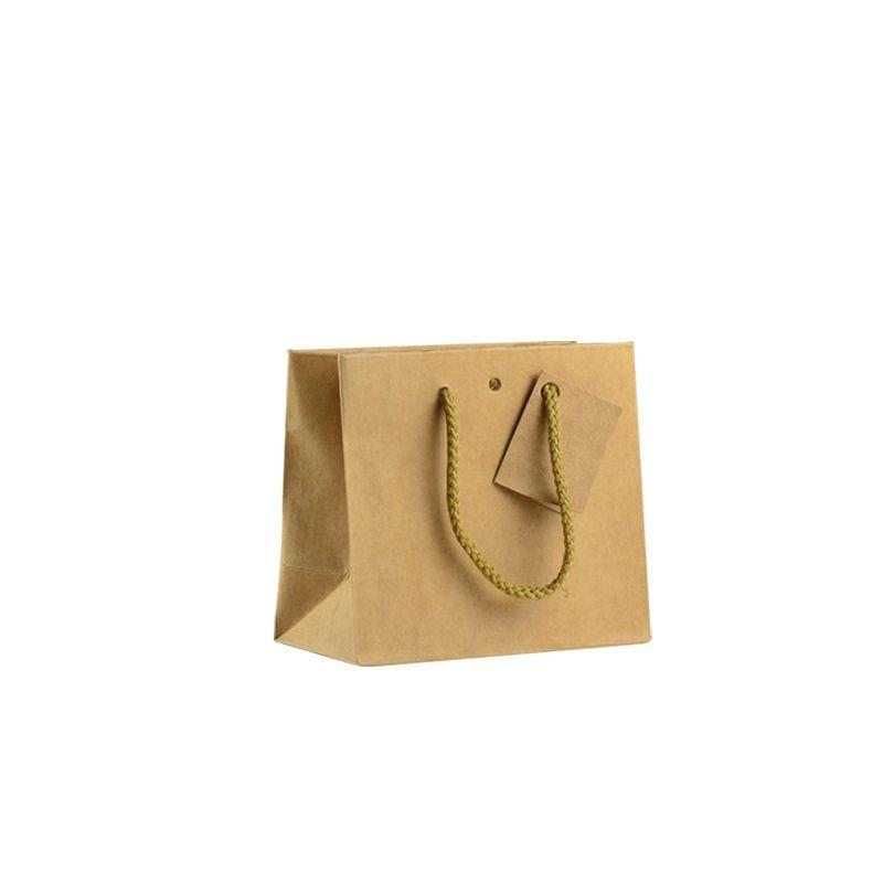 Sac boutique kraft brun Small Poignées cordelières 16+8x14cm x1200 pcs