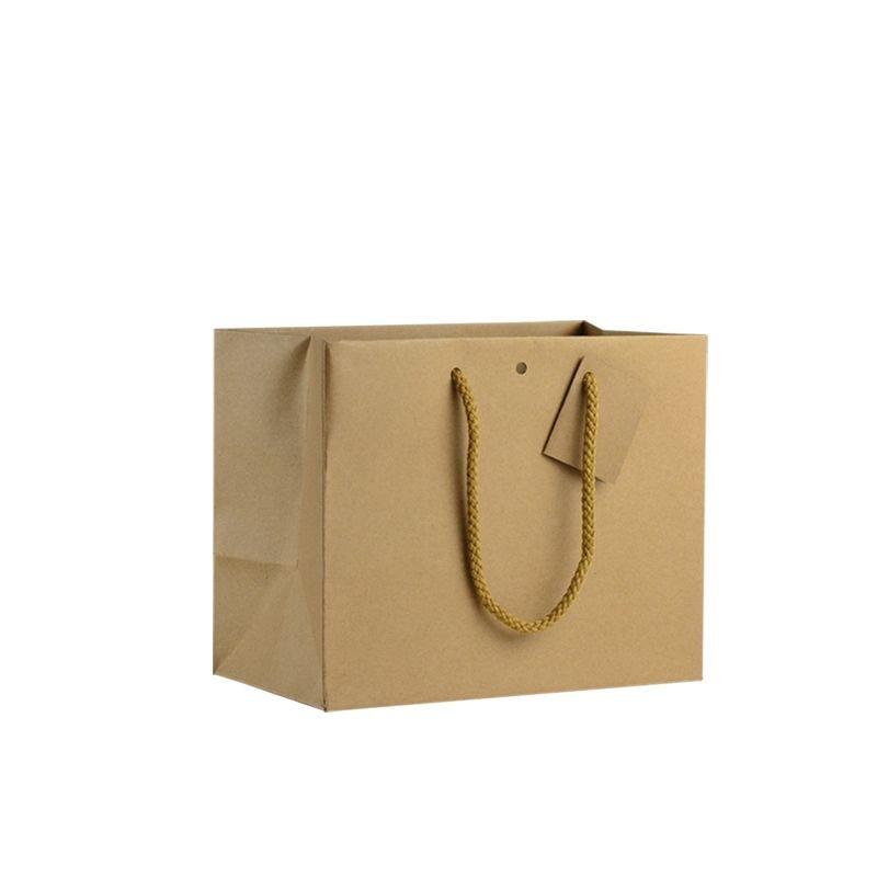 Sac boutique kraft brun Poignées cordelières 24+14x19,5cm x120 pcs
