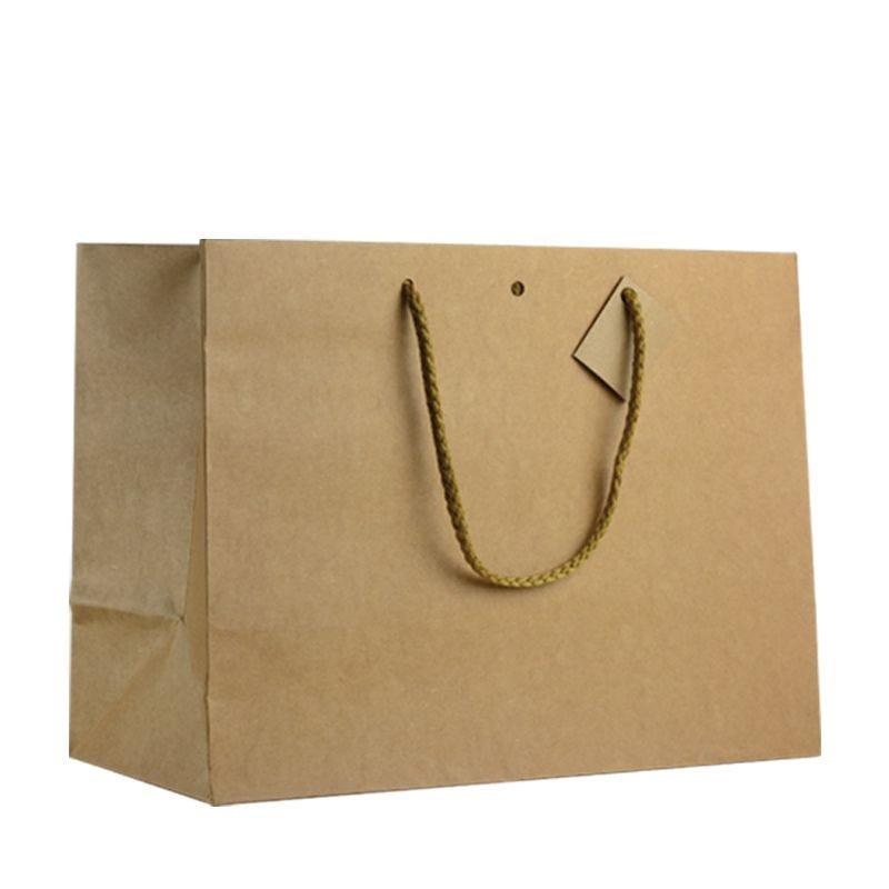 Sac boutique kraft brun Poignées cordelières 39+18x29cm x60 pcs