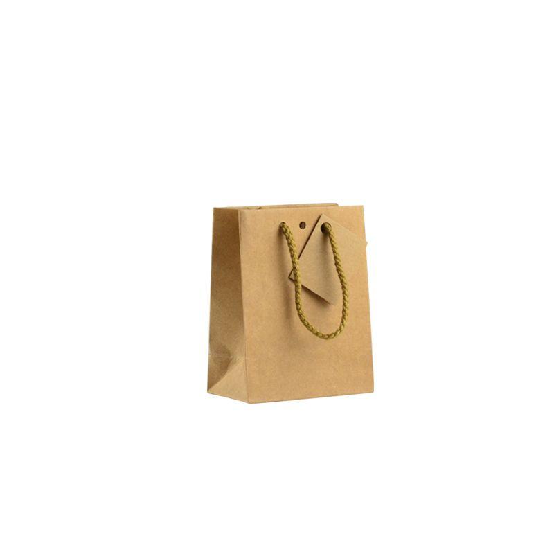 Sac boutique kraft brun Small Poignées cordelières 11,4+6,4x14,6cm par 400