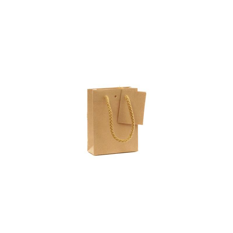 Sac boutique kraft brun Extra Small Poignées cordelières 8,1+3,3x10,8cm par 1500