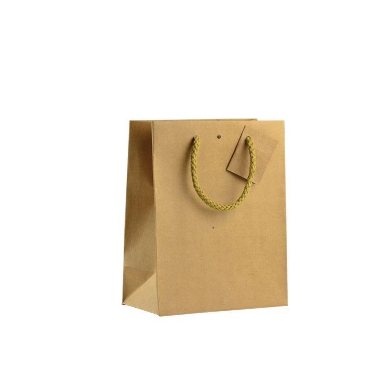 Sac boutique kraft brun Poignées cordelières 18+10x22,7cm x2500 pcs