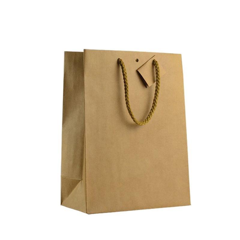 Sac boutique kraft brun Poignées cordelières 25+13x33cm x450 pcs