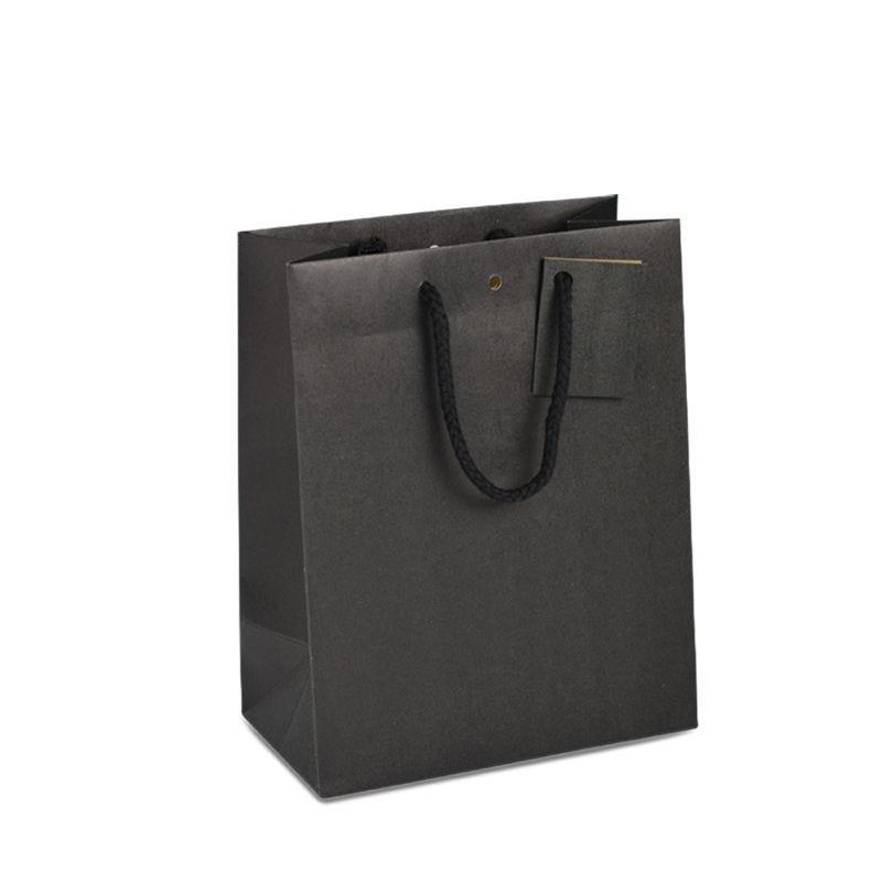 Sac boutique kraft noir Poignées cordelières 25+13x33cm x150 pcs