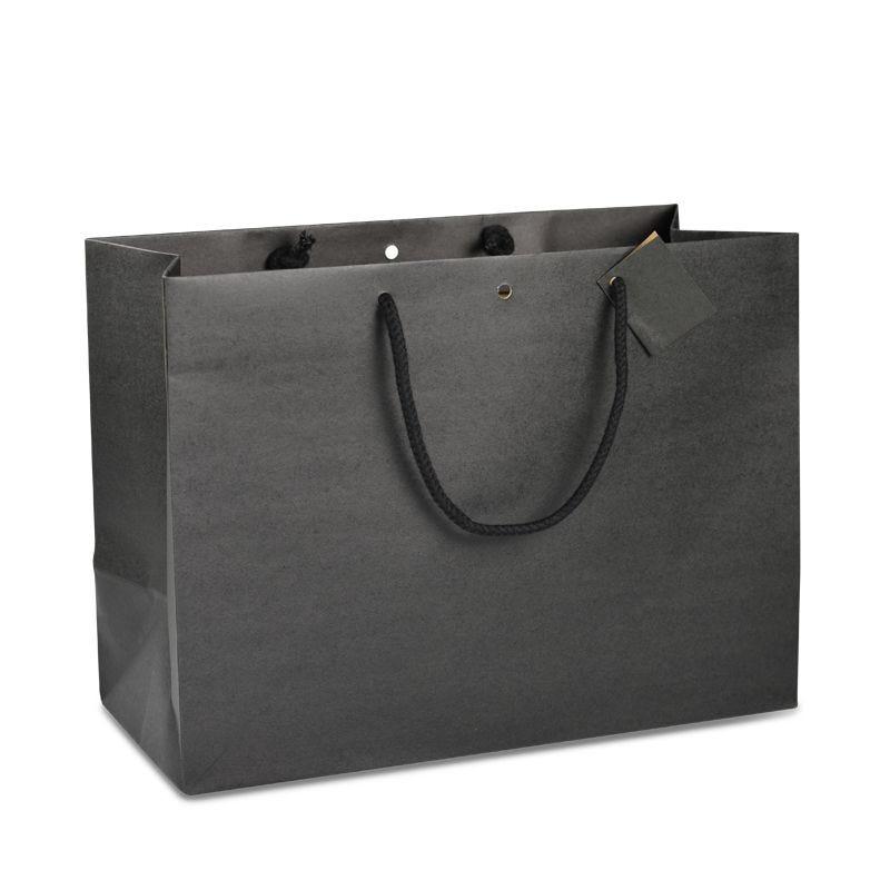 Sac boutique kraft noir Poignées cordelières 39+18x29cm x300 pcs