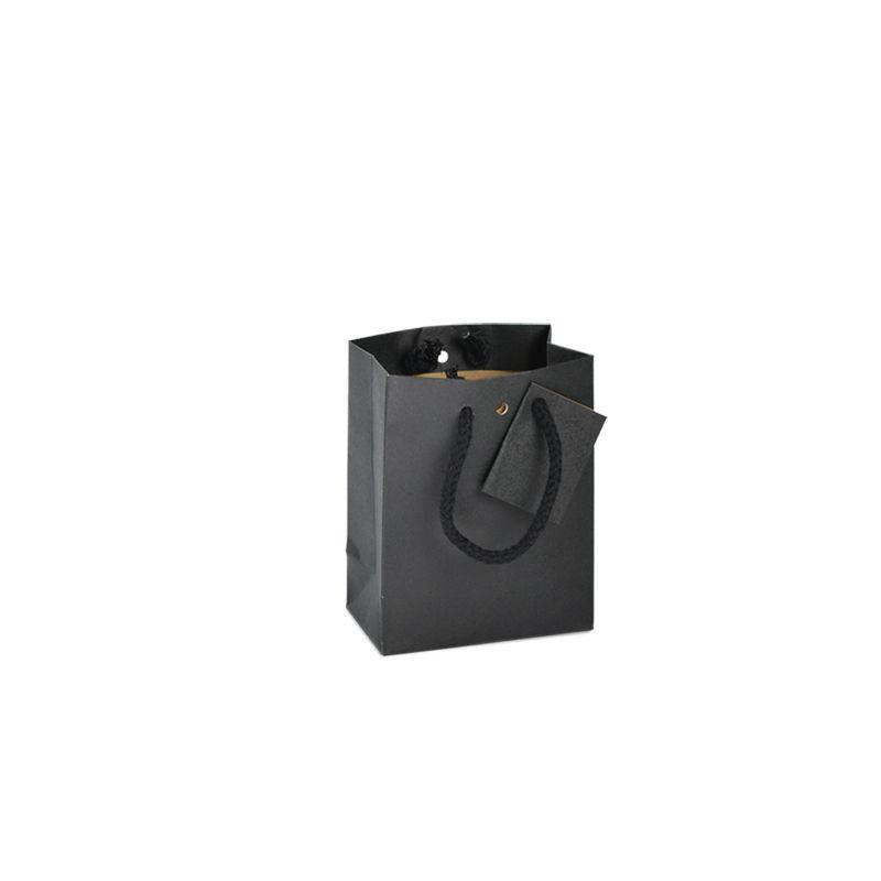 Sac boutique kraft noir Small Poignées cordelières 11,4+6,4x14,6cm x400