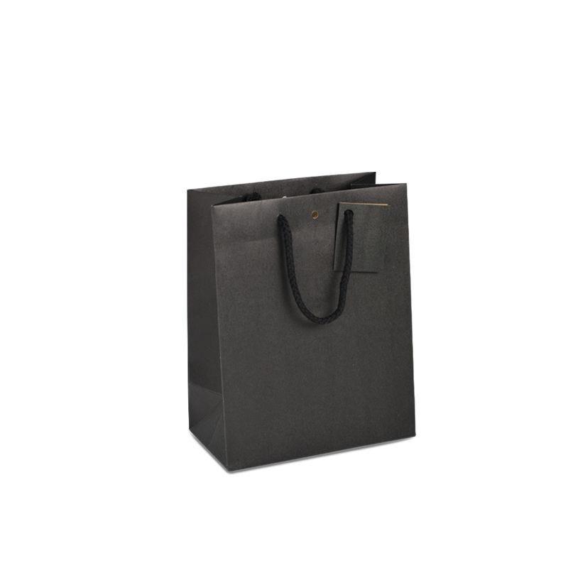 Sac boutique kraft noir Poignées cordelières 18+10x22,7cm x1200 pcs