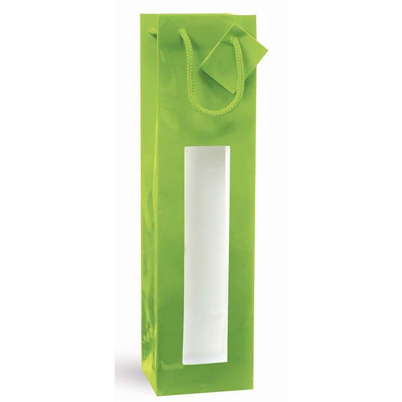 Sac fenêtre 1 bouteille pelliculé vert Poignées cordelières 10+9x38cm x600 pcs