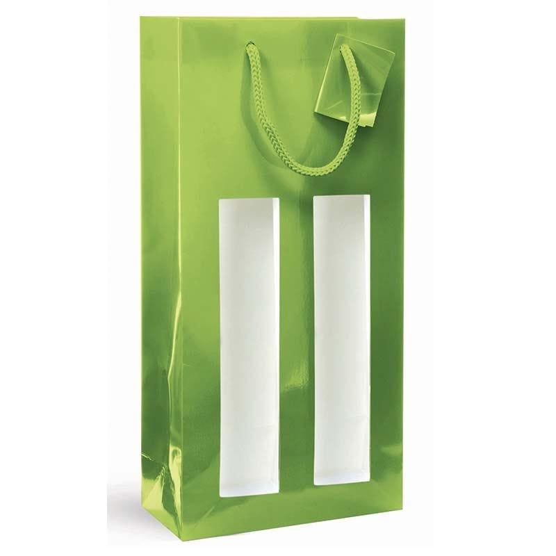 Sac fenêtre 2 bouteilles pelliculé vert Poignées cordelières 18+9x38cm x200 pcs