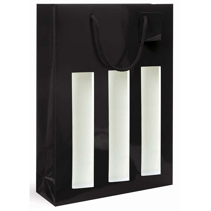 Sac fenêtre 3 bouteilles pelliculé noir Poignées cordelières 27+9x38cm x500 pcs
