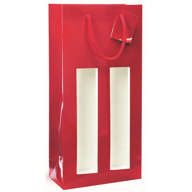 Sac fenêtre 2 bouteilles pelliculé rouge Poignées cordelières 18+9x38cm x1000