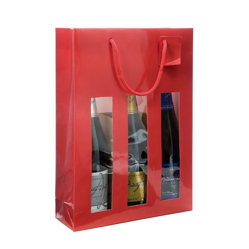 Sac fenêtre 3 bouteilles pelliculé rouge Poignées cordelières 27+9x38cm x100 pcs