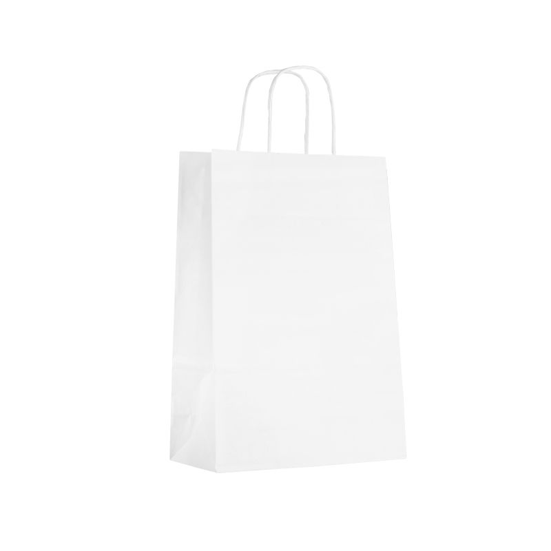 Sac boutique papier kraft blanc lisse Poignées torsadées 22+10x28cm x1250 pcs