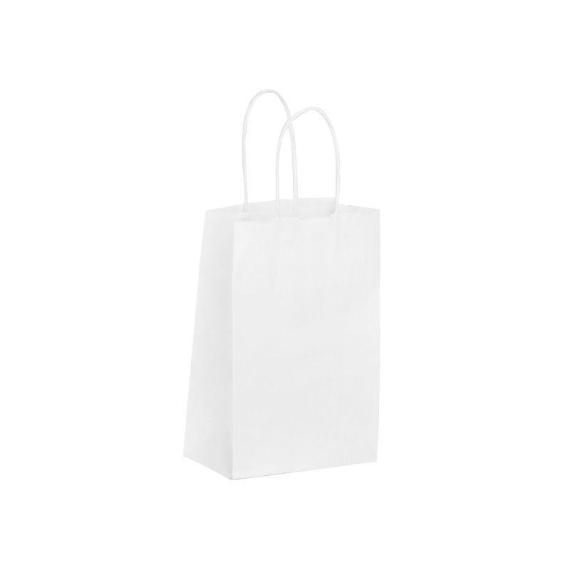 Sac boutique papier kraft blanc lisse Poignées torsadées 14+8x21cm x2000 pcs