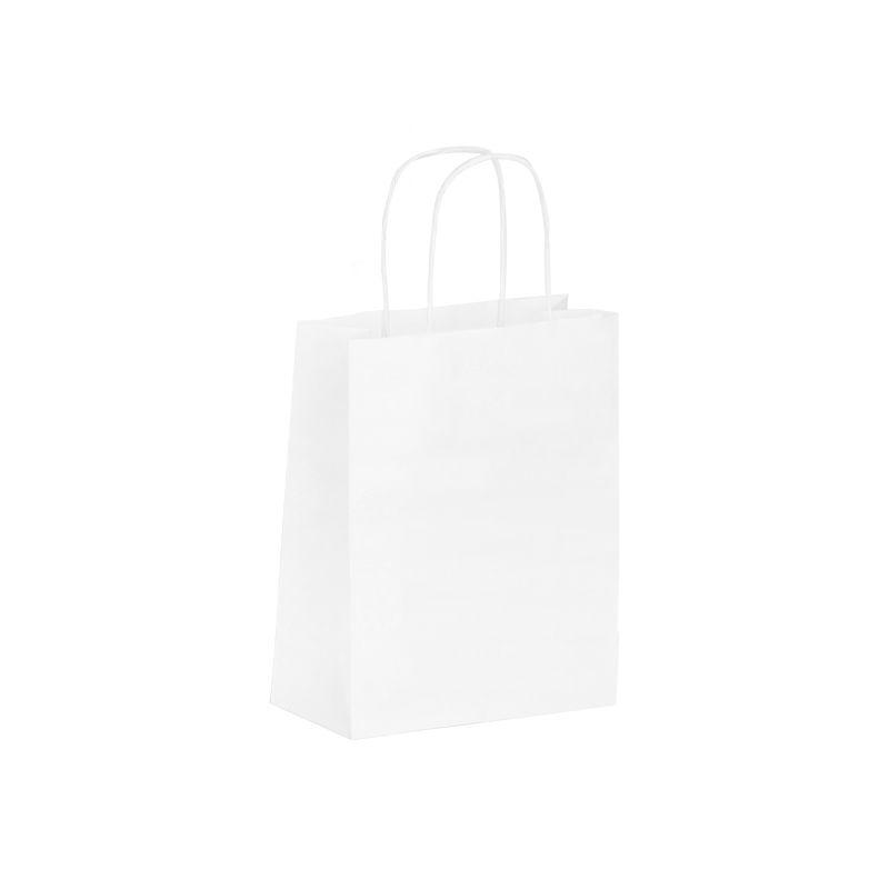 Sac boutique papier kraft blanc lisse Poignées torsadées 18+8x22cm x300 pcs