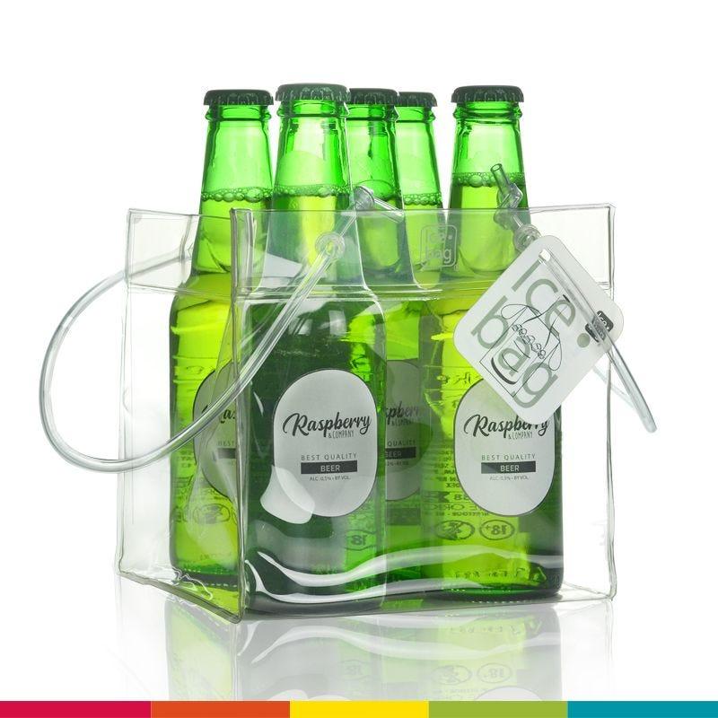 Ice.bag® cube transparent - rafraîchisseur 4 canettes 15+15x15cm x180 pcs