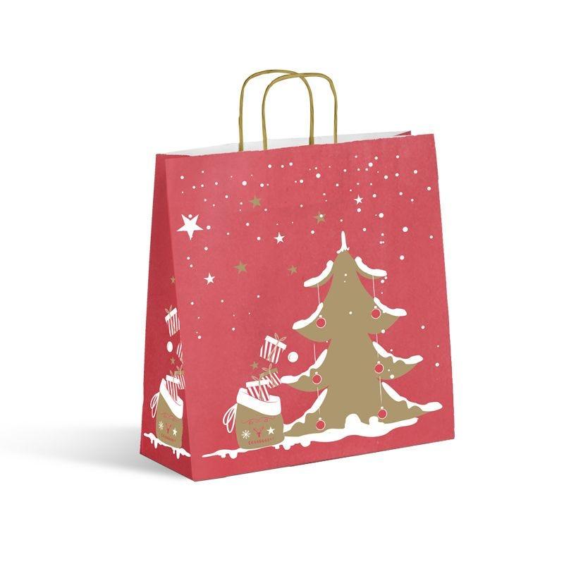 Sac kraft Noël - décor ELIOT poignées torsadées  - 35+14x41 cm x1250 pcs