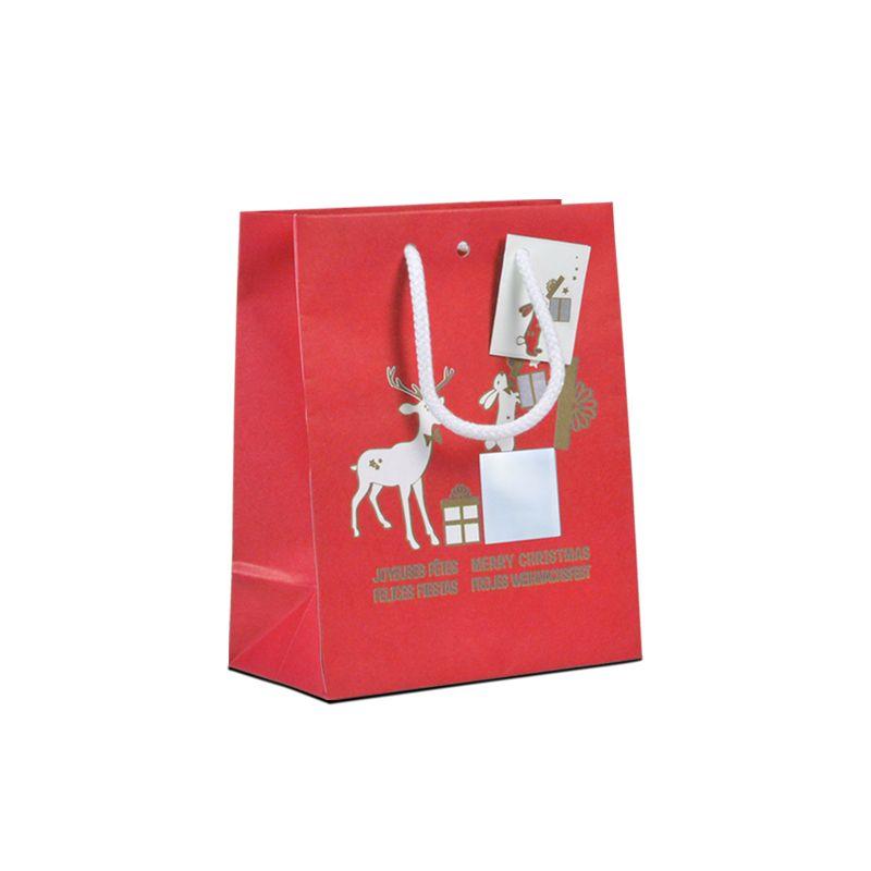 Sac luxe Noël - décor TIM & POPPY poignées cordelières - 18+10x22,7 cm x250 pcs