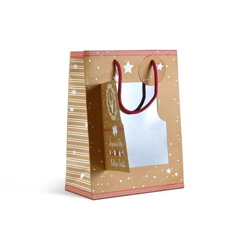 Sac luxe Noël - décor HARLOW poignées cordelières - 25+13x33 cm x450 pcs