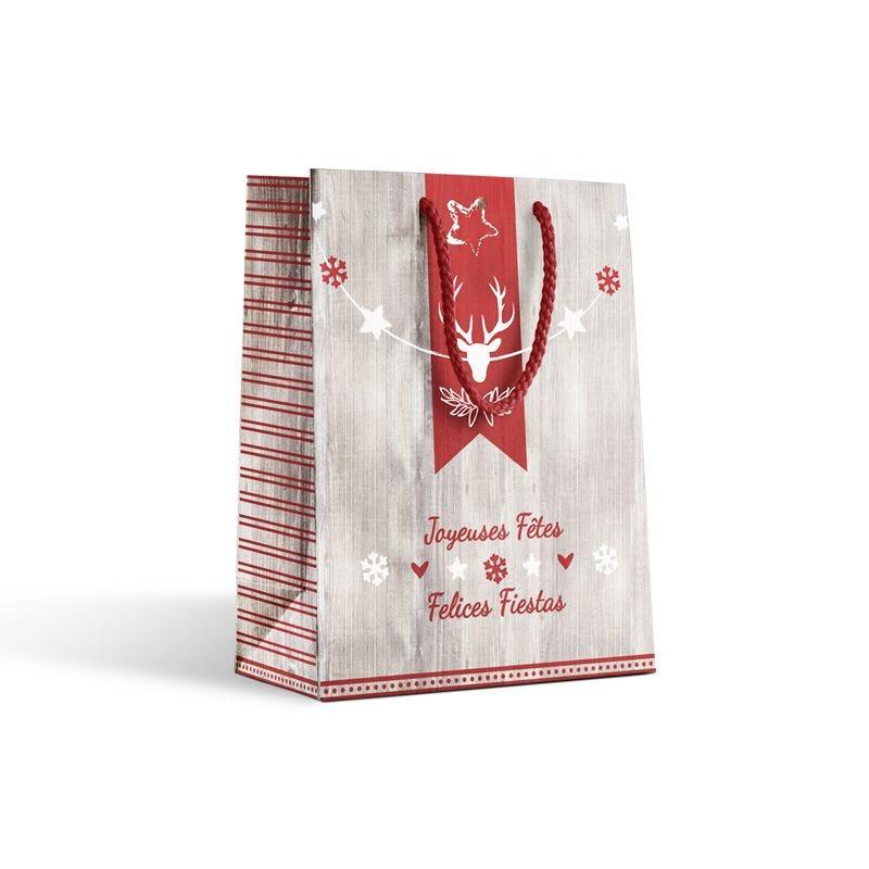 Sac luxe Noël - décor HARRY poignées cordelières - 25+13x33 cm x250 pcs