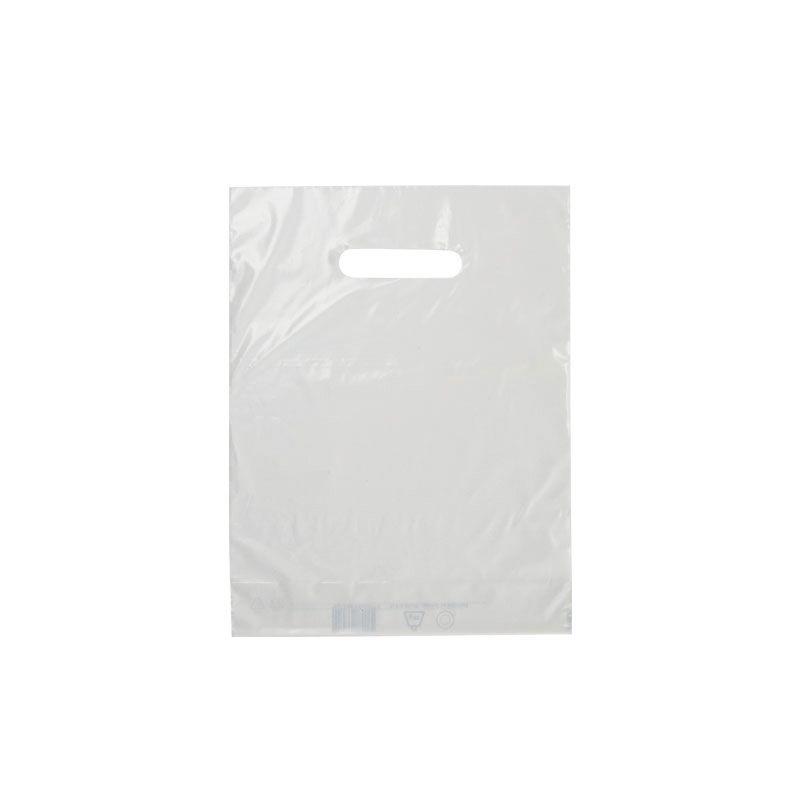 Sac plastique blanc poignées découpées en PEBD 80% recyclé 4+25x32cm x1000 pcs