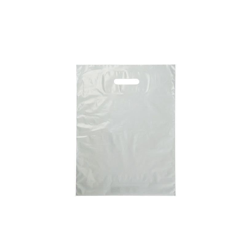 Sac plastique blanc poignées découpées en PEBD 80% recyclé 4+35x45cm x1000 pcs
