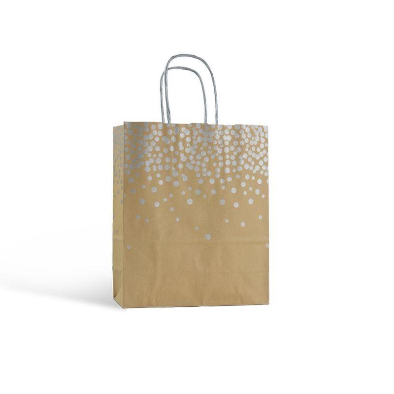 Sac papier boutique motifs paillettes Poignées torsadées 18+8x22cm x750 pcs