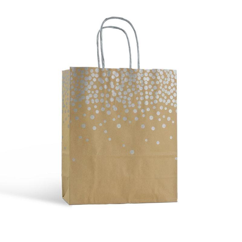 Sac papier boutique motifs paillettes Poignées torsadées 26+12x32cm x1250 pcs