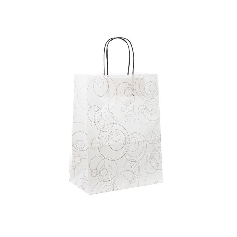 Sac papier boutique motifs Bubbles Poignées torsadées 18+8x24cm x900 pcs