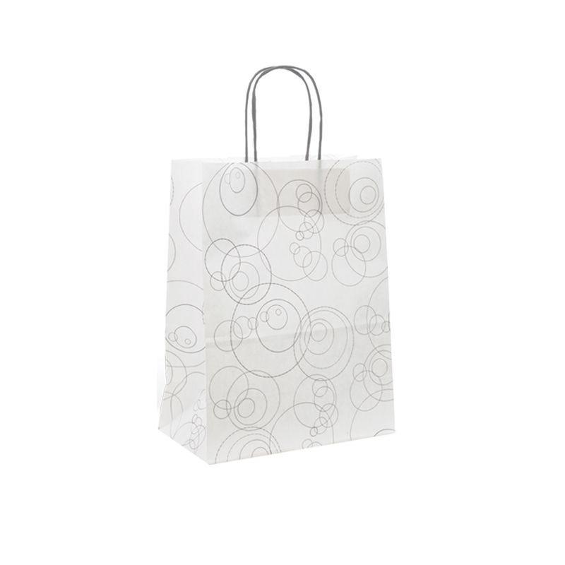 Sac papier boutique motifs Bubbles Poignées torsadées 23+12x30cm x750 pcs