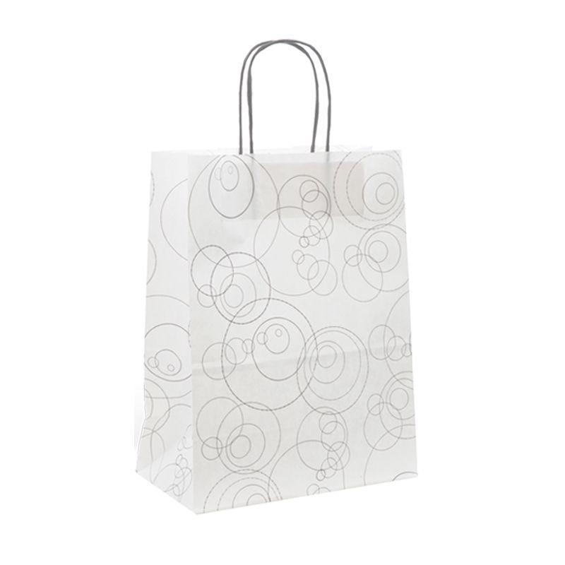Sac papier boutique motifs Bubbles Poignées torsadées 35+14x40cm x250 pcs