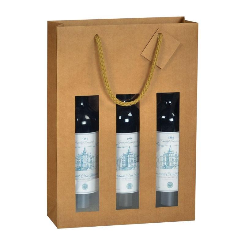 Sac 3 bouteilles kraft brun fenêtre Poignées cordelières 27+9x38cm x300 pcs