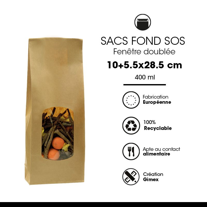Sac aliment fond sos fenêtre kraft brun vergé 400 ml 10+5,5x28,5cm x12000 pcs