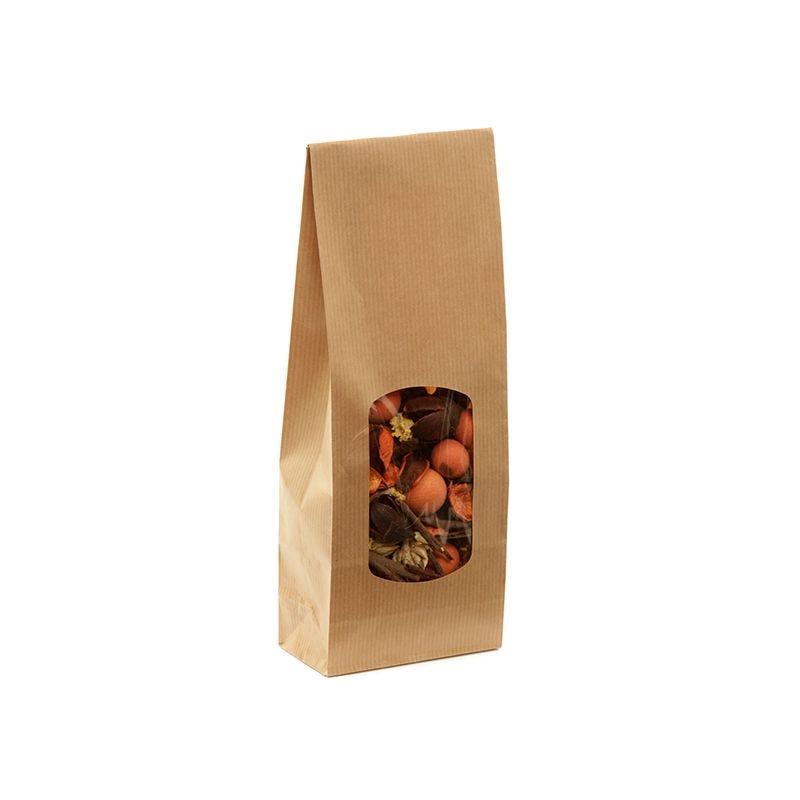 Sac aliment fond sos fenêtre kraft brun vergé 400 ml 10+5,5x28,5cm x3600 pcs