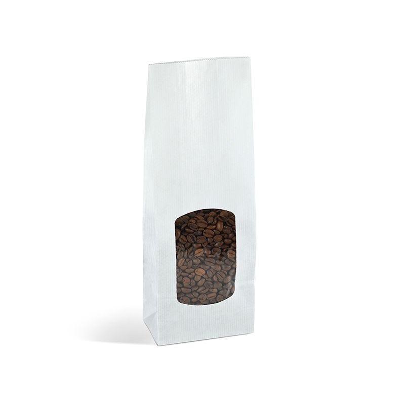 Sac aliment fond sos fenêtre kraft blanc vergé 400 ml 10+5,5x28,5cm x3600 pcs