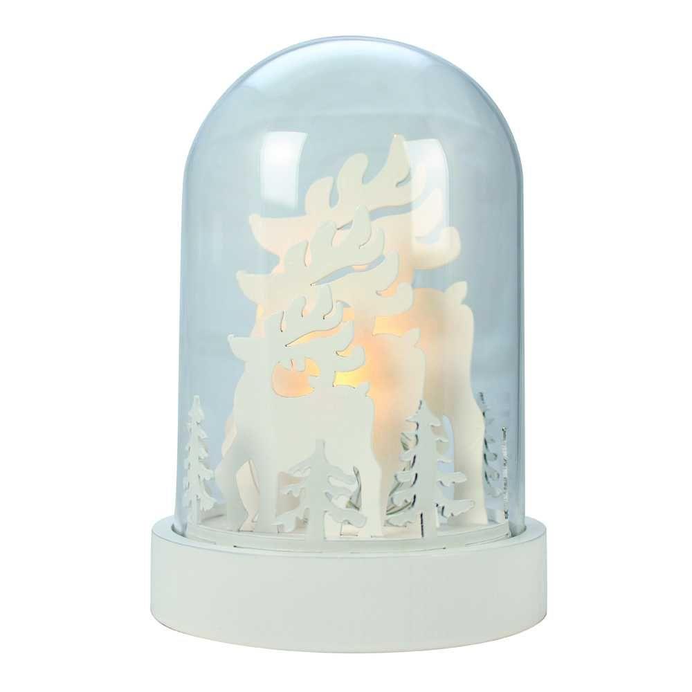 Cloche en verre déco rennes led blanc chaud - 18 cm (photo)