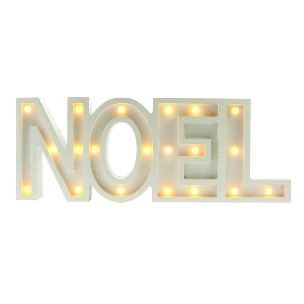 Mot noel blanc led - 39 cm (photo)