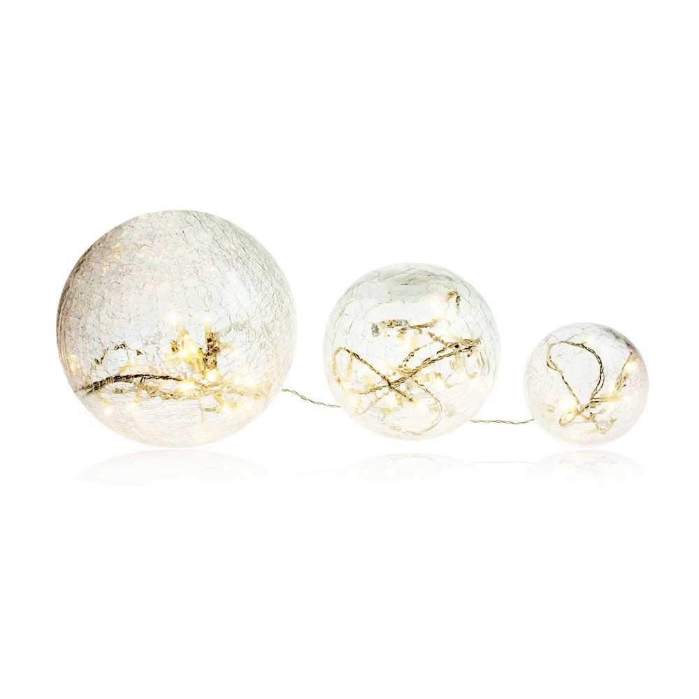 Boules en verre blanc led - 10-15-20 cm (photo)