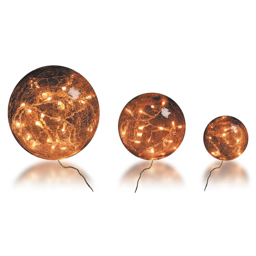 Boules en verre ambré led - 10-15-20 cm (photo)