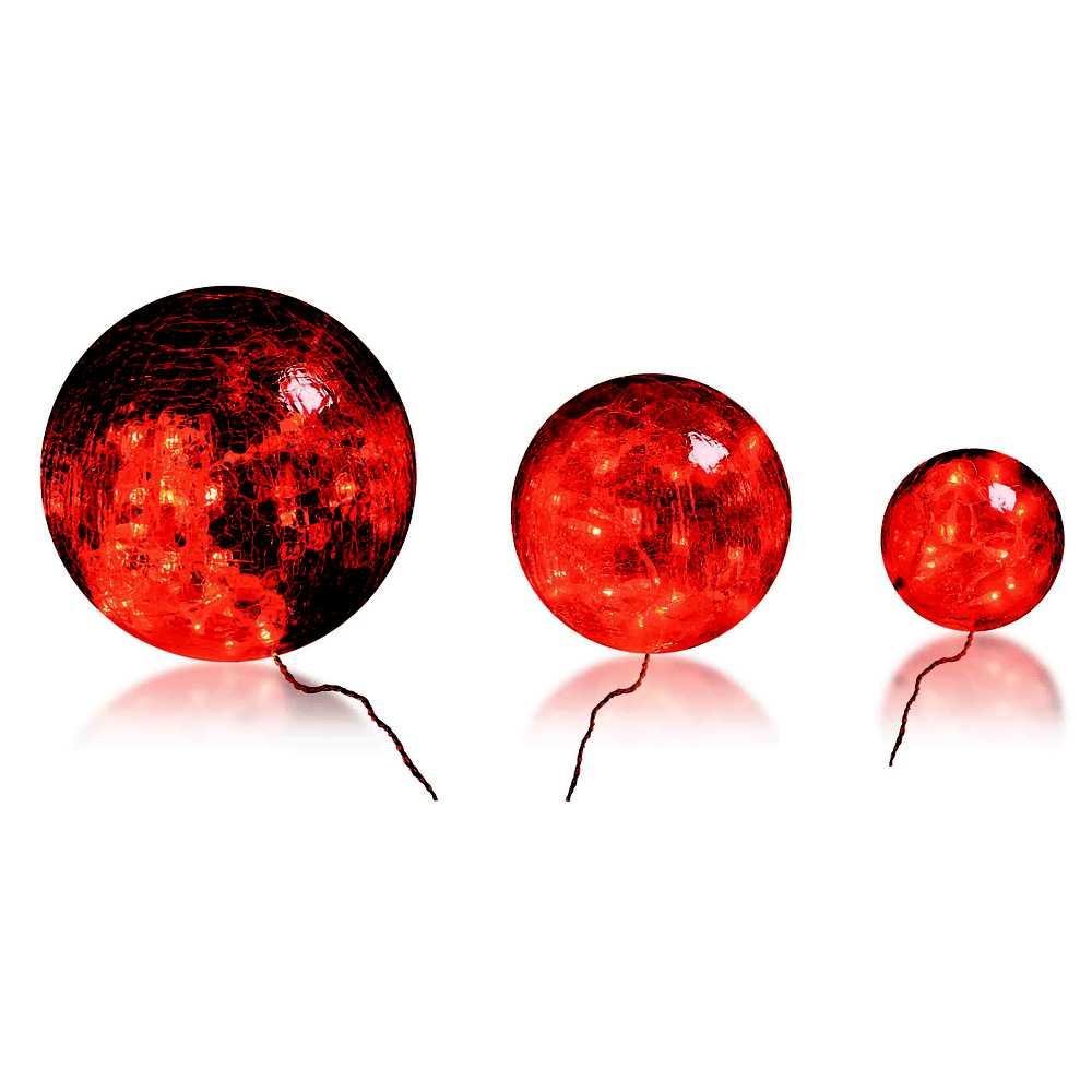 Boules en verre rouge led - 10-15-20 cm