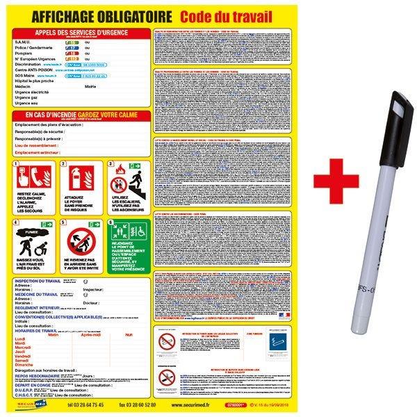 Kit affichage obligatoire code du travail permanent (photo)