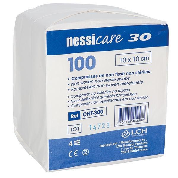 Compresse en non-tissé non stérile 10x10cm. 100 pièces
