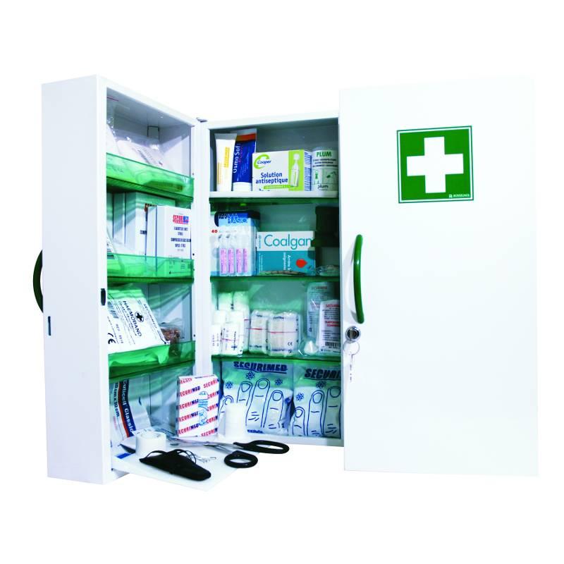 Armoire à pharmacie métal 2 portes - garnie (photo)