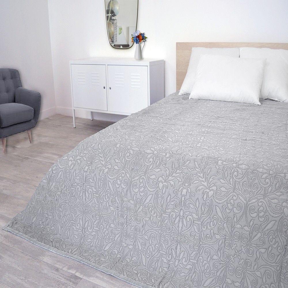 Couvre-lit verone 220x260cm gris - 300g/m² (photo)