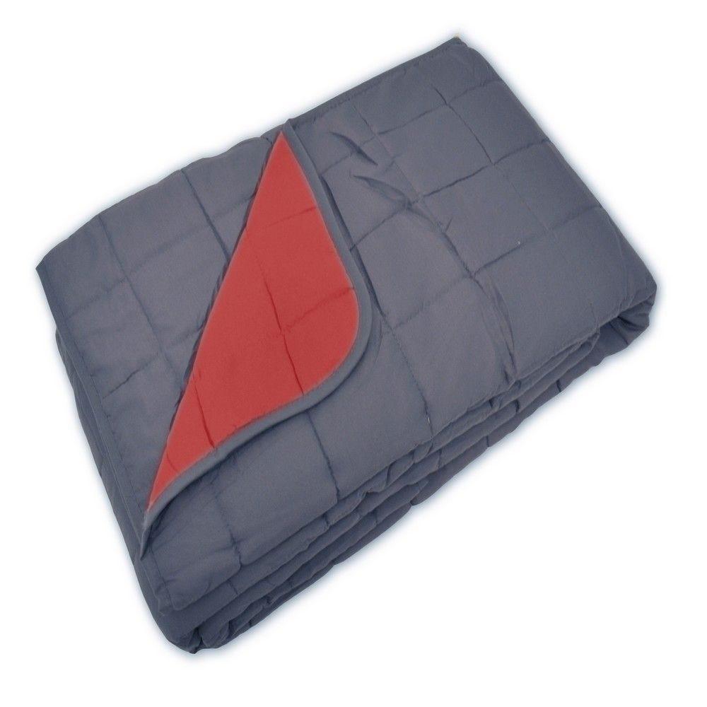 Couvre-lit soho 230x260cm gris/rouge - 250g/m² (photo)