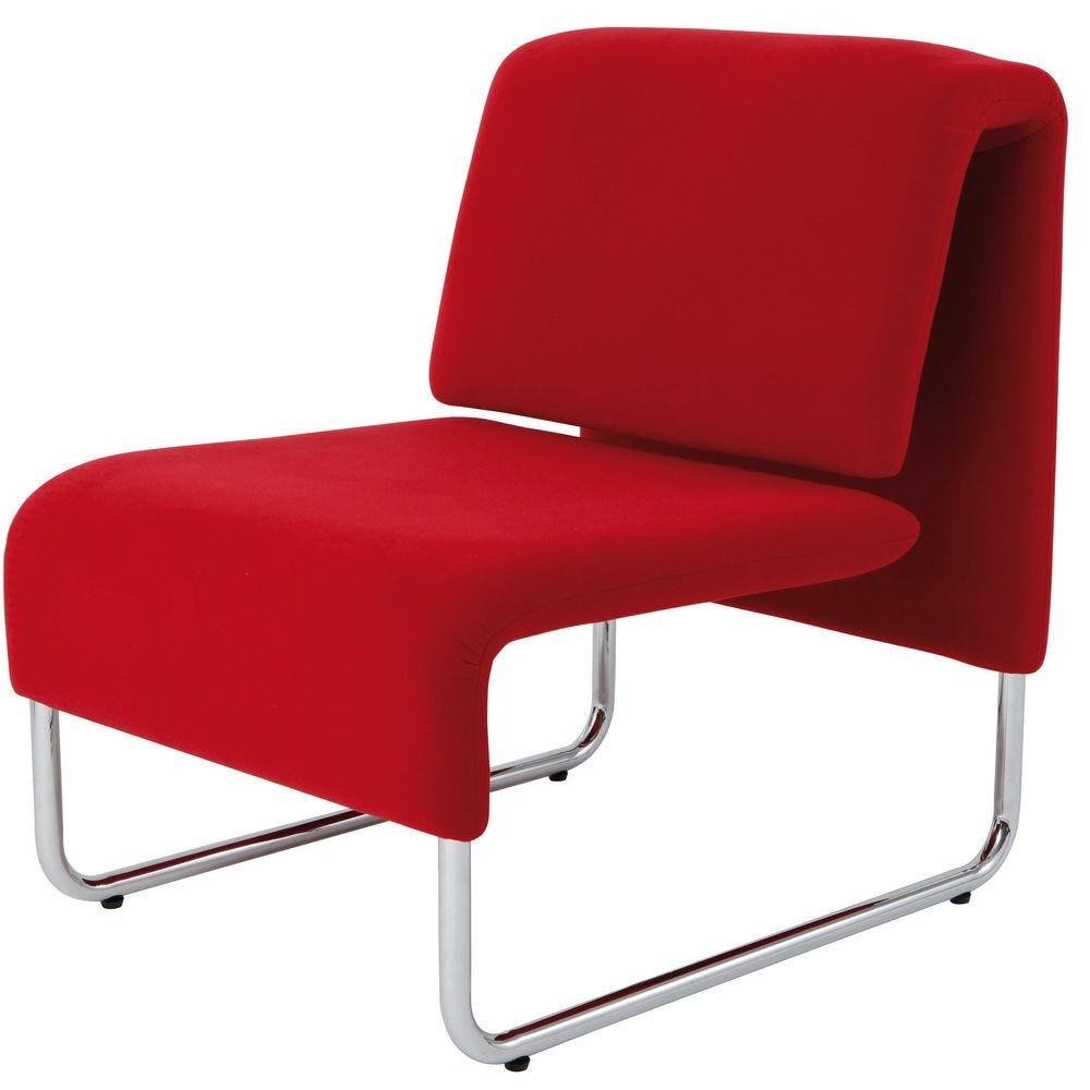 Chauffeuse comfort 1 place piètement chrome - tissu rouge (photo)