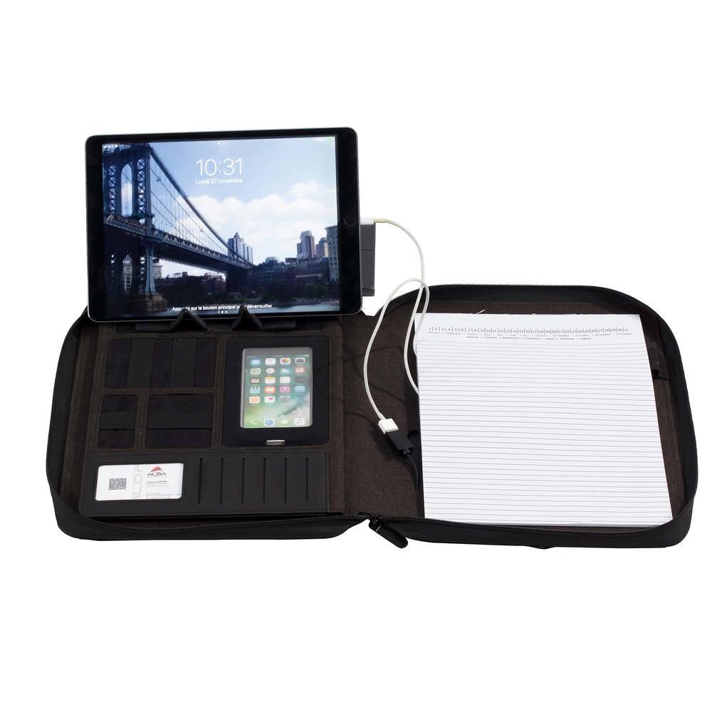 Conférencier a4 anthracite batterie integrée fermeture zip/support tablette (photo)