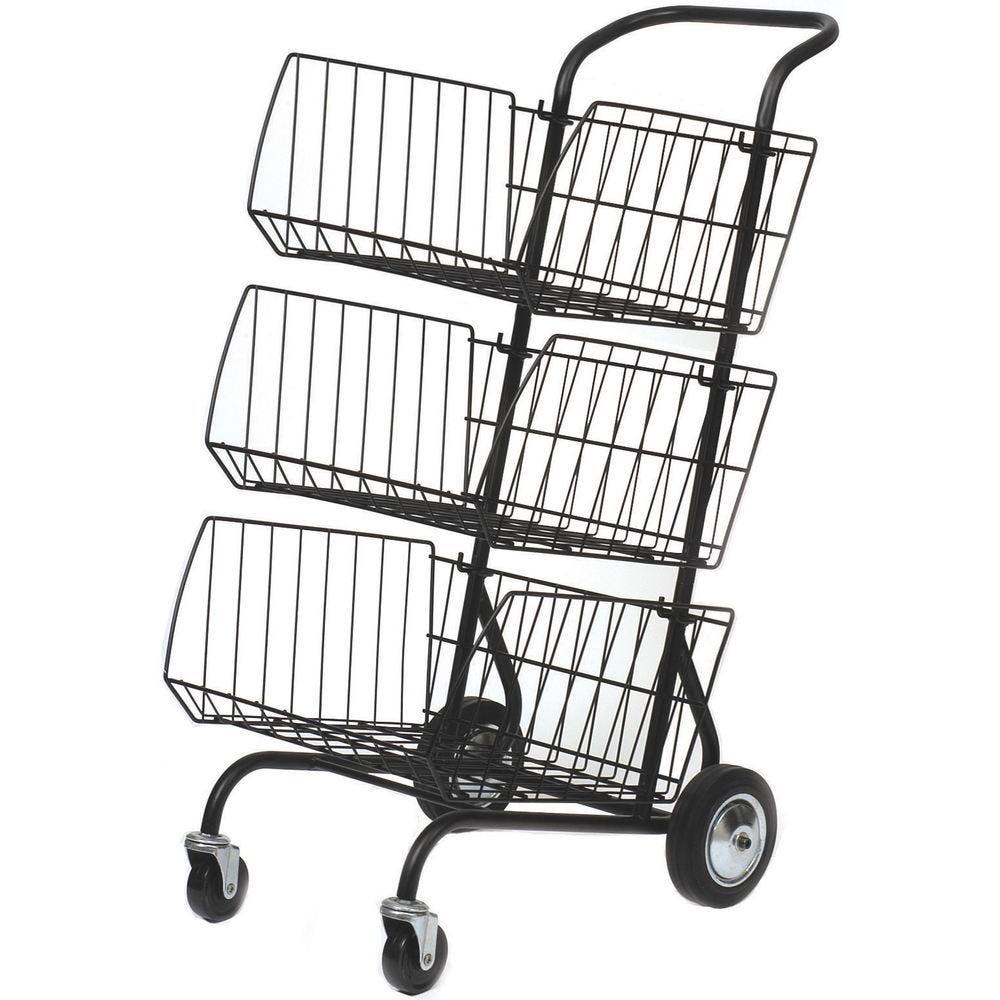 Chariot à courrier avec 3 paniers métal - coloris noir (photo)