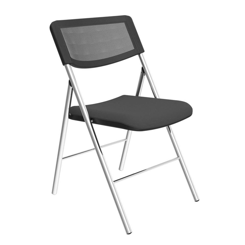 Chaise pliante diva noir en tissu mesh et piètement chromé - par 2 (photo)