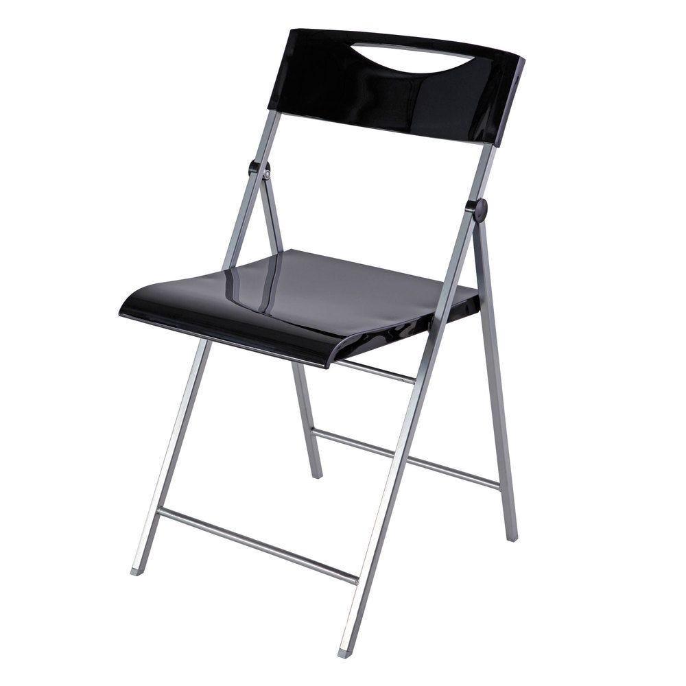 Chaise pliante smile en abs glossy et piètement métal - coloris noir - par 2 (photo)